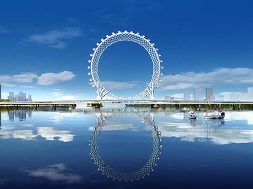 潍坊城市手刺-白浪河大桥天下最大无轴摩天轮,选用双狮聚硅氧烷涂料