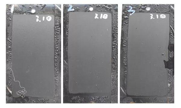 经过210℃烘烤40min后,耐盐雾性达到260h的耐高温漆样板